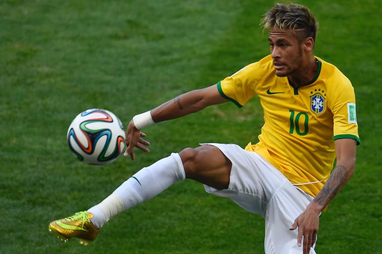 Neymar lors du huitième de finale de Coupe du monde entre le Brésil et le Chili, le 28 juin 2014