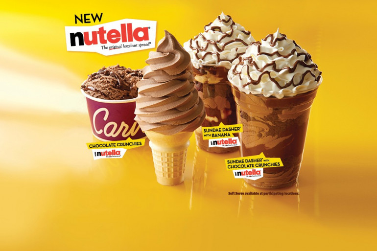 Publicité pour les premières glaces au Nutella