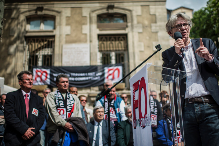 Jean-Claude Mailly, secrétaire général de Force ouvrière, le 1 mai 2014 (Archives)