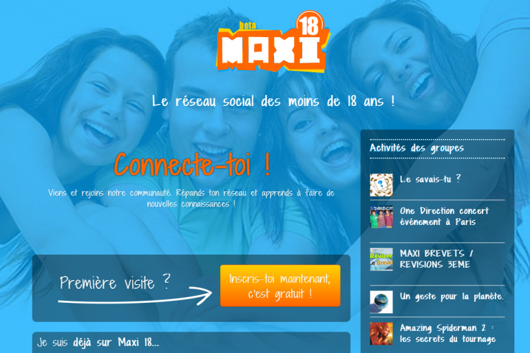 Capture d'écran du site maxi18.com