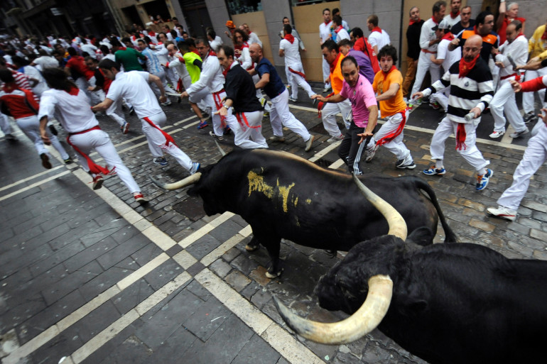 Des taureaux dans les rues de Pampelune lors de la fête de San Fermin, le 9 juillet 2014.