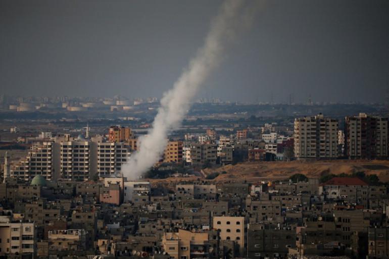 La ville de Gaza lors d'une frappe aérienne israélienne le 12 juillet 2014.