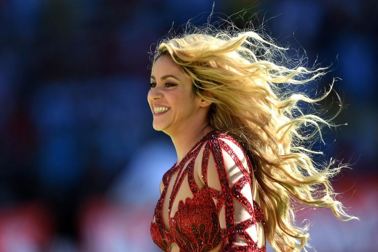 Shakira lors de la cérémonie de clôture de la Coupe du monde, le 13 juillet 2014