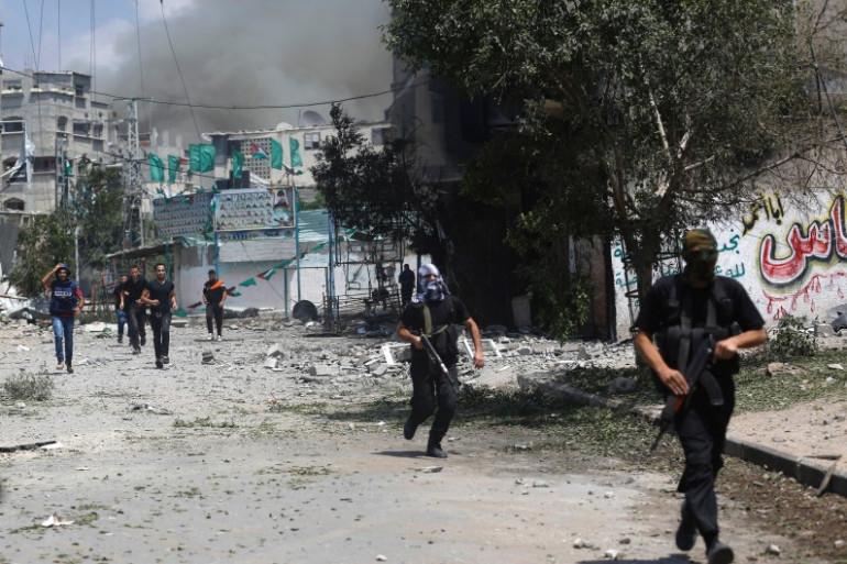 Des combattants du Hamas dans le quartier de Chajaya, à Gaza, le 20 juillet 2014