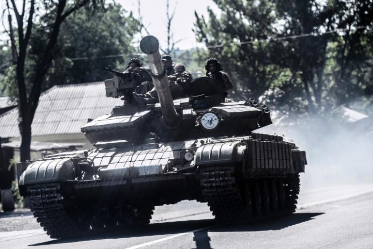 Des séparatistes prorusses à Donetsk en Ukraine, le 27 juillet 2014.
