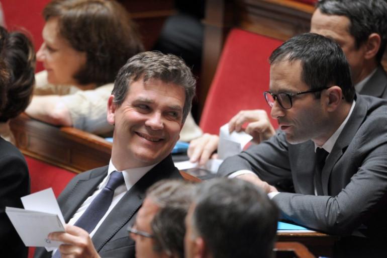 Arnaud Montebourg et Benoît Hamon à l'Assemblée nationale, le 24 juin 2014.