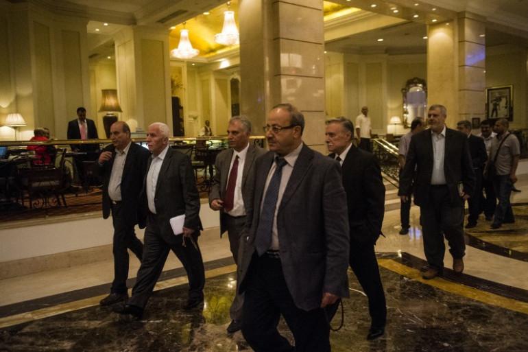 Les membres de la délégation palestinienne au Caire le 11 août 2014