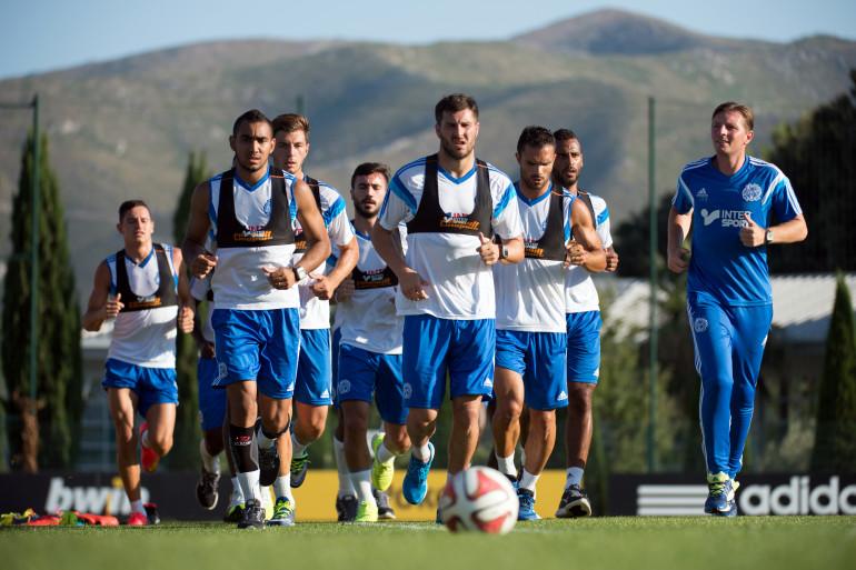 Les joueurs de l'Olympique de Marseille à l'entraînement, le 12 août 2014