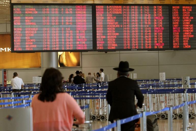 Le hall de l'aéroport Ben-Gourion de Tel-Aviv en juillet 2014, après qu'une roquette du Hamas soit tombée non loin.