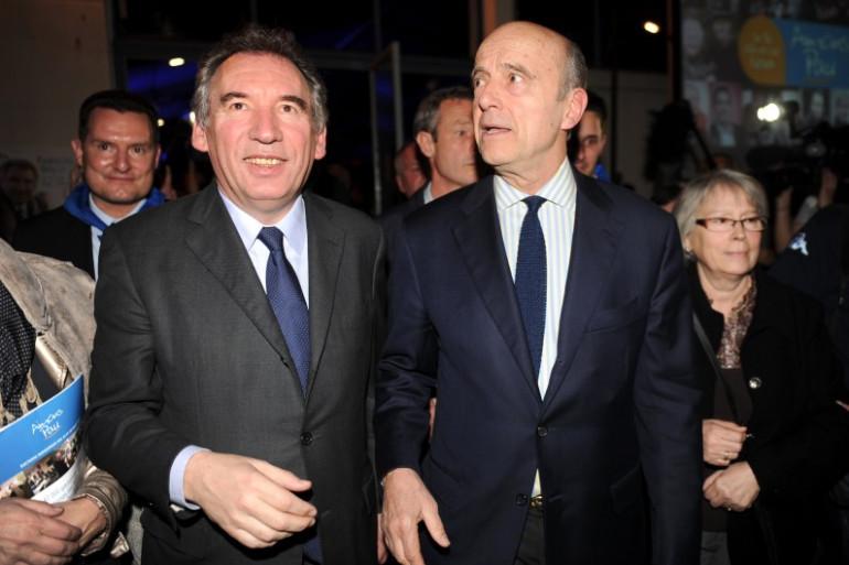 François Bayrou et Alain Juppé à Pau, le 8 mars 2014.