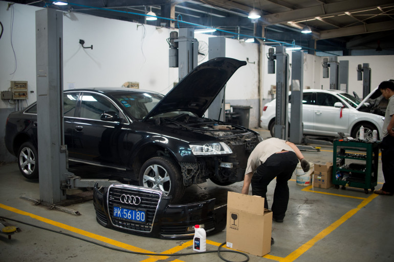 Vue d'un garage en Chine