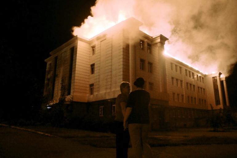 Une école de Donetsk, en Ukraine, touchée par un bombardement, le 27 août 2014.