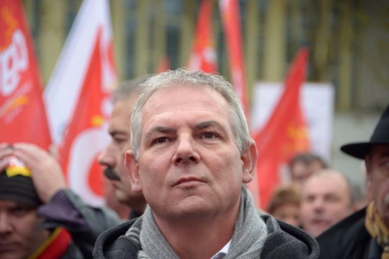 Thierry Lepaon, secrétaire général de la CGT, lors d'une manifestation à Lorient en novembre 2013.