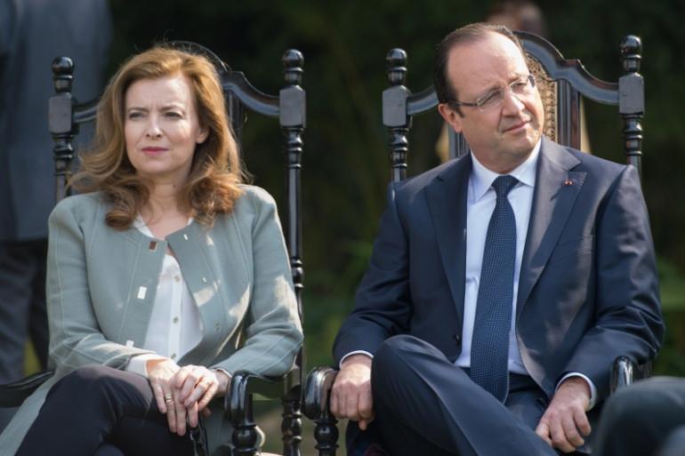 Valérie Trierweiler et François Hollande en visite officielle à New Delhi, le 15 février 2013