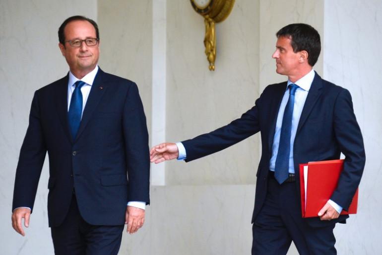 François Hollande et Manuel Valls au palais de l'Élysée, le 27 août 2014