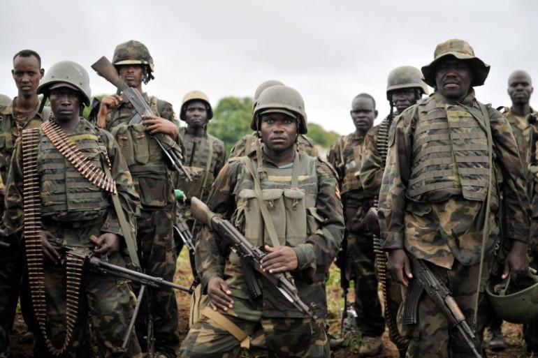 Des soldats ougandais de l'Amisom en Somalie, le 31 août 2014.