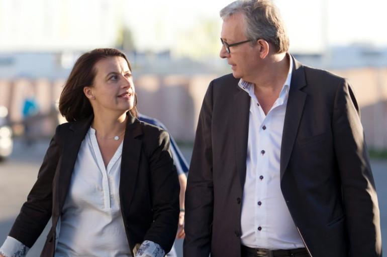 Cécile Duflot et Pierre Laurent à la Fête de L'Humanité à La Courneuve, le 12 septembre 2014.