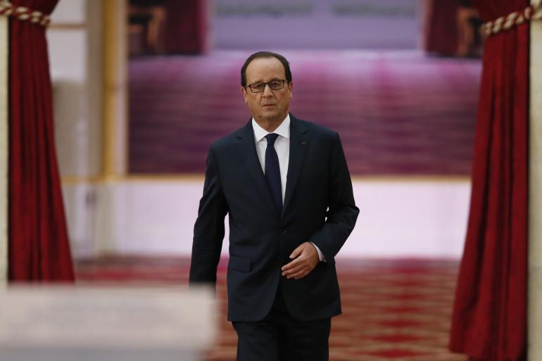 François Hollande arrive à la conférence de presse le 18 septembre 2014
