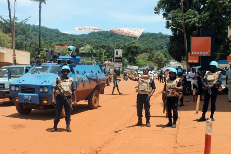 Des casques bleus à Bangui, le 8 octobre 2014.