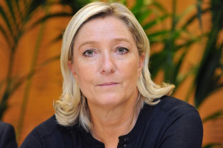 Marine Le Pen en conférence à Cournon-d'Auvergne, le 2 octobre 2014.