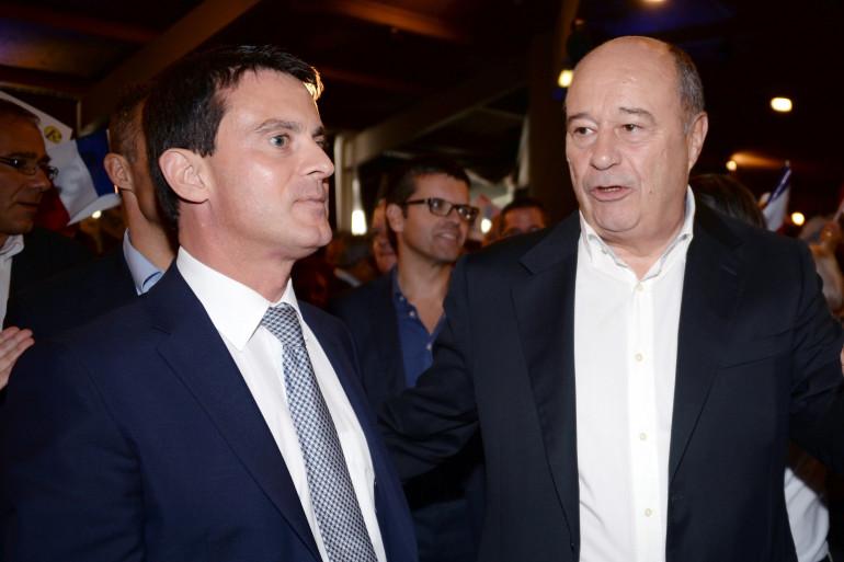 Manuel Valls et le président du PRG Jean-Michel Baylet à Seignosse le 15 septembre 2013. (Archives)
