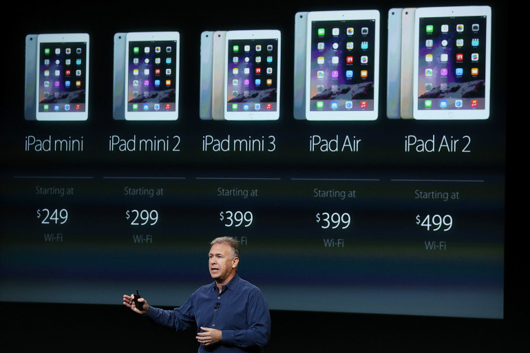 La gamme complète de tablettes d'Apple jeudi 16 octobre 2014