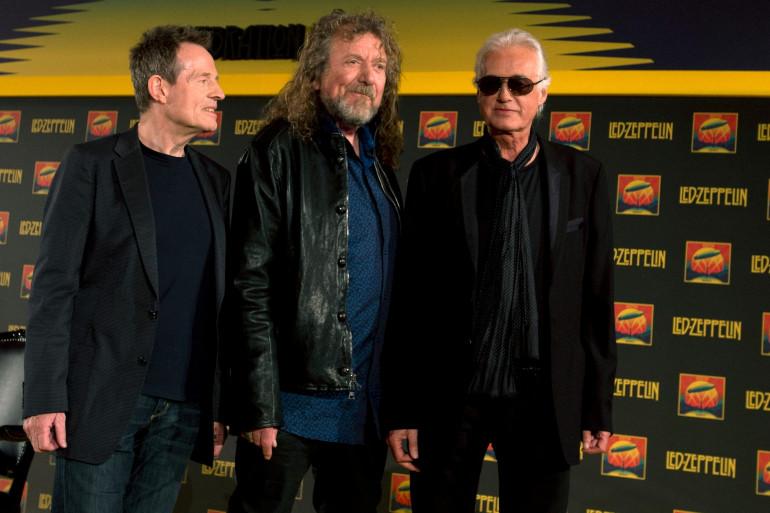 Les trois membres de Led Zeppelin en 2012. De gauche à droite : John Paul Jones, Robert Plant et Jimmy Page