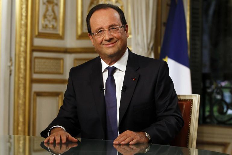 François Hollande après une interview à l'Élysée le 15 septembre 2014