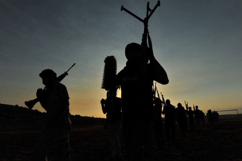 Les membres d'un groupe djihadiste, en Syrie. (illustration)