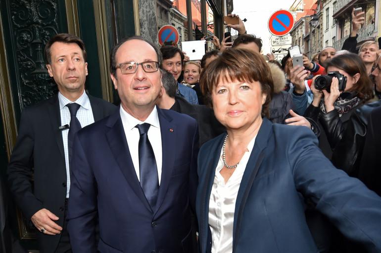 François Hollande et Martine Aubry, à Lille, le 22 novembre 2014.