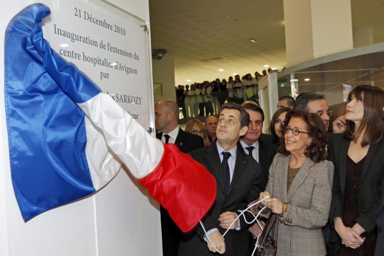Nicolas Sarkozy et Marie-Josée Roig, le 21 décembre 2010, à Avignon. (archives)
