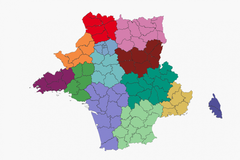 La carte de France à 13 régions