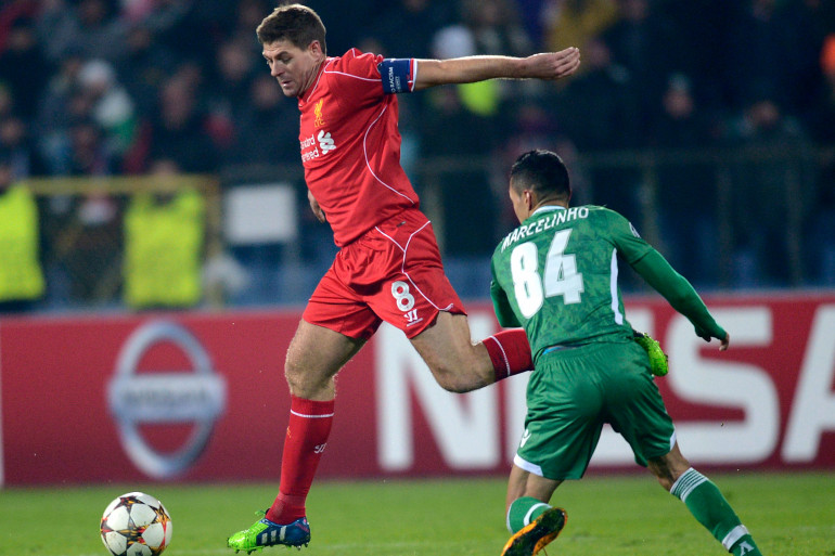 Steven Gerrard sous les couleurs de Liverpool en novembre 2014