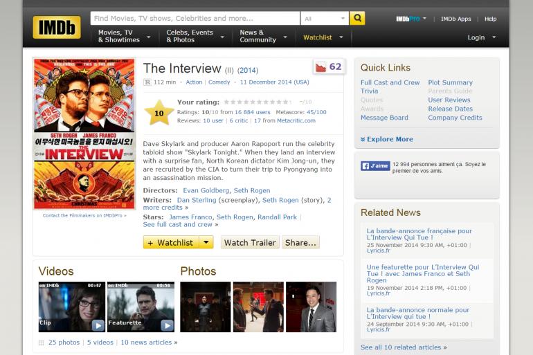 """""""The Interview"""" est devenu le film le mieux noté sur IMDb"""