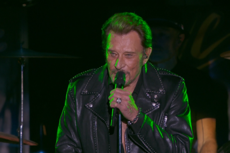 Johnny Hallyday, lors du concert des Vieilles Canailles à Bercy en novembre 2014