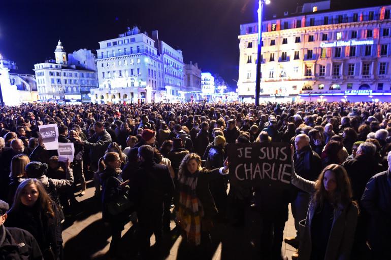 Une manifestation de soutien à Charlie Hebdo à Marseille, le 7 janvier 2015.