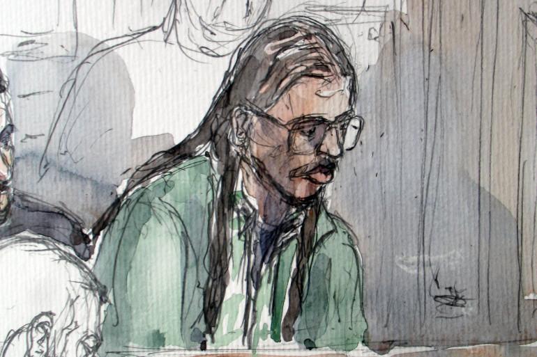 Croquis d'audience, réalisé le 20 mars 2008 à Paris, de Farid Benyettou qui comparait devant le tribunal correctionnel dans le procès de la filière irakienne du XIXe arrondissement soupçonnée d'avoir recruté et envoyé des jihadistes vers l'Irak.