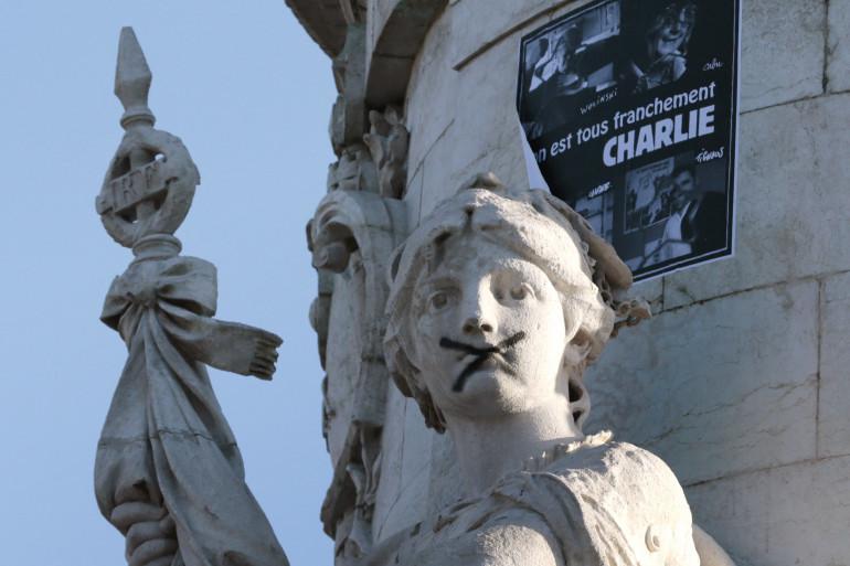 La statue de la République à l'heure de la marche républicaine en hommage aux victimes des attentats, le 11 janvier 2015. (Illustration)
