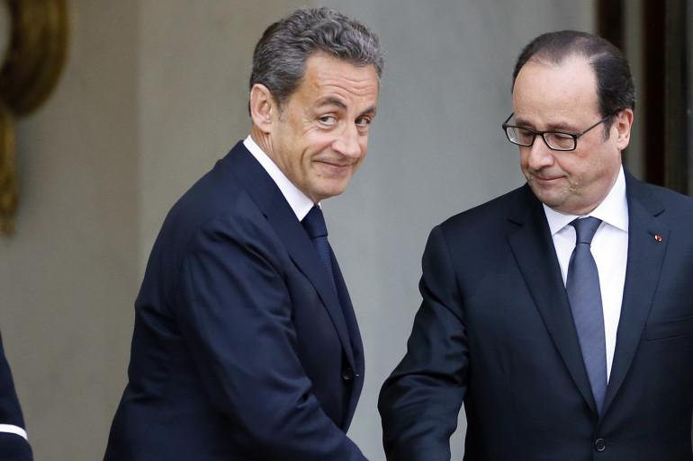 Nicolas Sarkozy était de retour à l'Elysée pour la première fois depuis 2012 pour un entretien avec François Hollande après les attentats de Charlie Hebdo, le 8 janvier 2015.