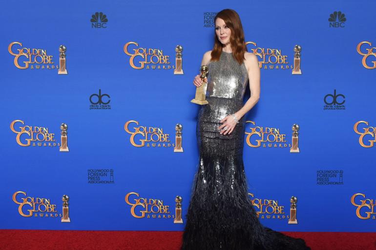 Julianne Moore lors des Golden Globes le 11 janvier 2015