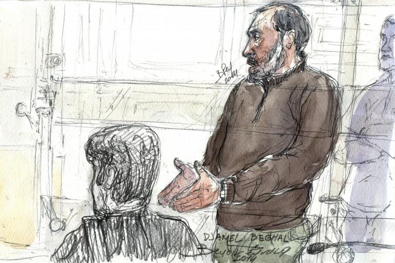 Djamel Beghal pendant son procès en appel à Paris en octobre 2014