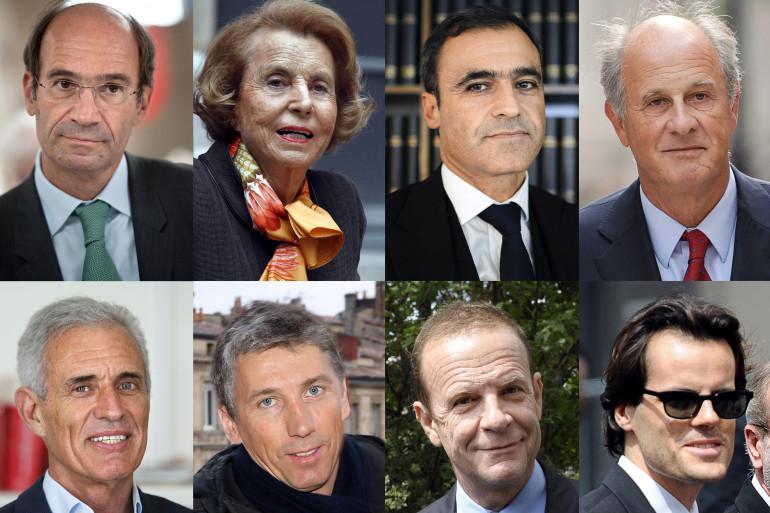 De gauche à droite : Eric Woerth, Liliane Bettencourt, Pascal Wilhelm, Patrice de Maistre, Carlos Vejarano, Stephane Courbit, Francois-Marie Banier et Martin d'Orgeval.