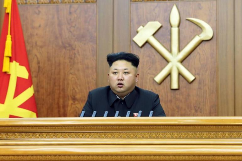 Kim Jong-Un lors d'un discours le 4 janvier 2015