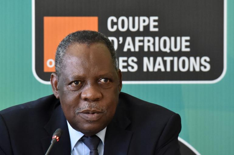 Le président de la CAF, Issa Hayatou, lors d'une conférence de presse, le 29 janvier 2015, à Malabo.