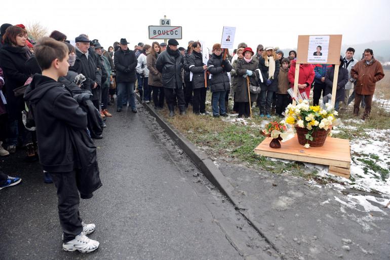 Une marche blanche en mémoire de Patricia Bouchon, à Bouloc, le 14 février 2012.