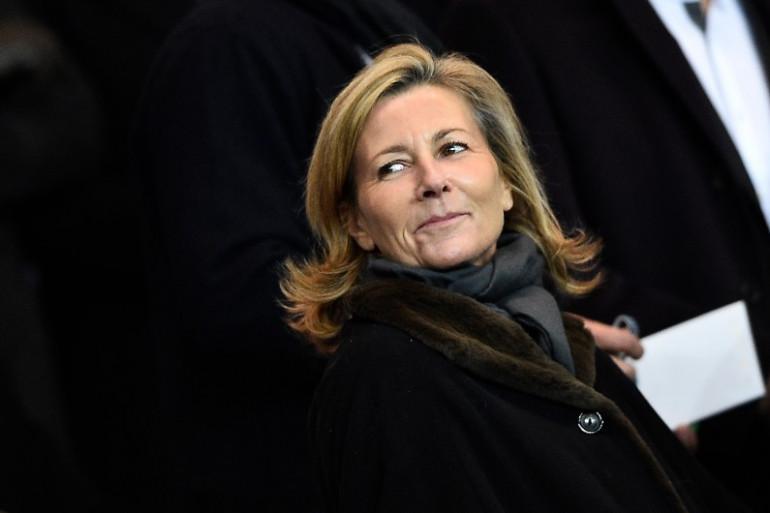 Claire Chazal, dans les tribunes du Parc des Princes, le 17 février 2015