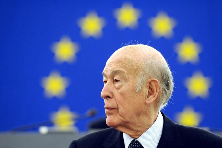 Valéry Giscard d'Estaing au Parlement européen pour les 10 ans de l'euro, le 13 janvier 2009, à Strasbourg (archives).