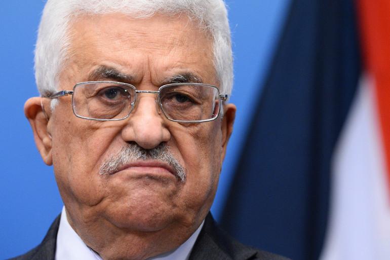 Mahmoud Abbas, le président palestinien, lors d'une conférence de presse à Stockholm, le 15 février 2015.