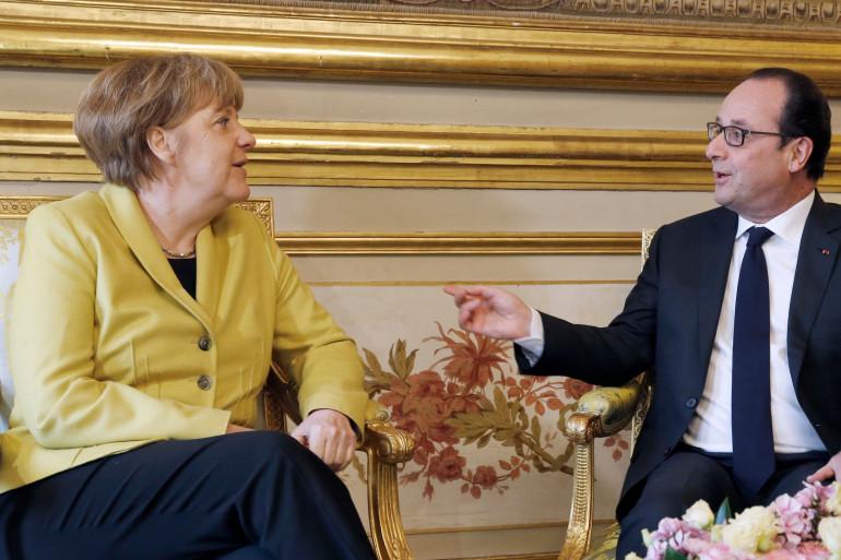 La chancelière allemande Angela Merkel et le Président français François Hollande à l'Elysée le 20 février 2015