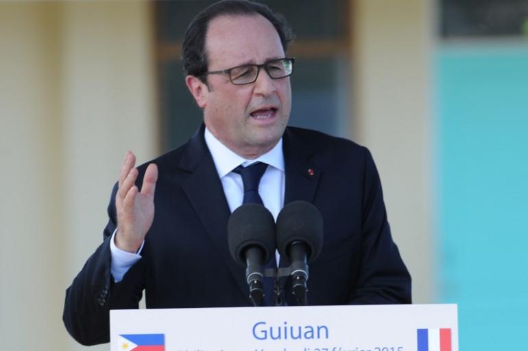 François Hollande lors d'un discours aux Philippines, le 27 février 2015.